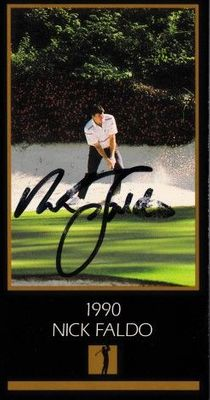 Nick Faldo autographed 1990 Masters Champion golf card