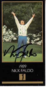 Nick Faldo autographed 1989 Masters Champion golf card