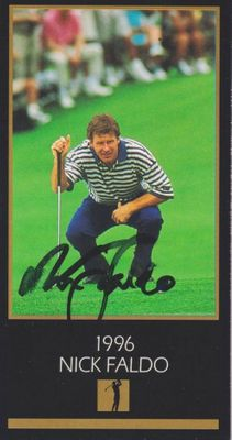 Nick Faldo autographed 1996 Masters Champion golf card