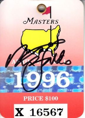 Nick Faldo autographed 1996 Masters golf badge