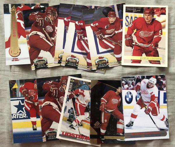 Lot of 11 Nicklas Lidstrom Detroit Red Wings cards (1992-93 Stadium Club 2001 Sports Illustrated for Kids)