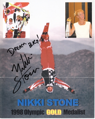 Nikki Stone autographed freestyle skiing 8x10 photo and plastic card holder inscribed 98 OLYMPIC GOLD