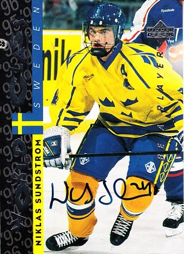 Niklas Sundstrom Sweden 1995 Be A Player certified autograph card
