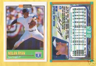 Nolan Ryan 1993 Duracell card #20 MINT