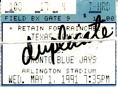 Nolan Ryan 7th No-Hitter May 1 1991 Rangers vs. Blue Jays ticket stub (torn in half)