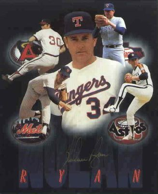 Nolan Ryan autographed 6x8 career montage photo