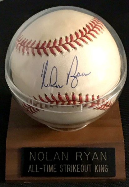 Nolan Ryan autographed official Rawlings American League baseball with All-Time Strikeout King display case