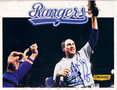 Nolan Ryan autographed Texas Rangers 1991 calendar (6th No-Hitter cover)