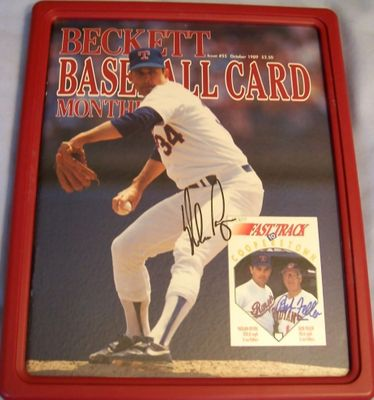 Nolan Ryan and Bob Feller autographed 1989 Beckett Baseball magazine framed