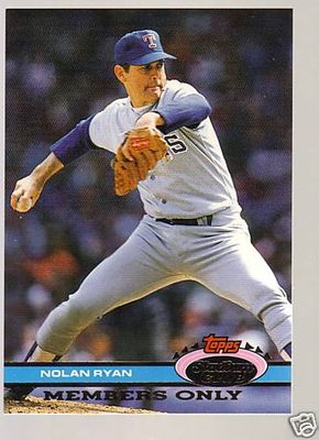 Nolan Ryan Rangers 1991 Stadium Club Members Only card