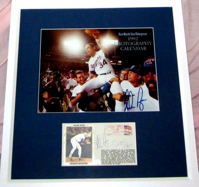 Nolan Ryan and Roberto Alomar autographed 7th No-Hitter photo and cachet matted and framed
