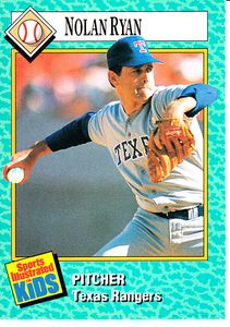 Nolan Ryan Texas Rangers 1989 Sports Illustrated for Kids card