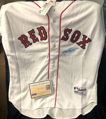 Nomar Garciaparra autographed Boston Red Sox authentic Russell Athletic game model home white jersey (Steiner)