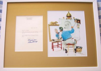 Norman Rockwell autographed 1972 letter matted and framed with self-portrait print