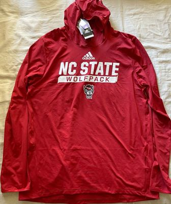 North Carolina State Wolfpack Adidas red training hooded long sleeve shirt or hoodie NEW