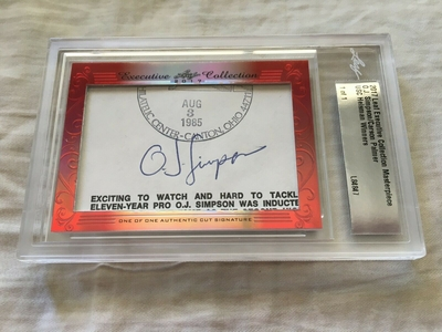 O.J. Simpson and Carson Palmer 2017 Leaf Masterpiece Cut Signature certified autograph card 1/1 JSA
