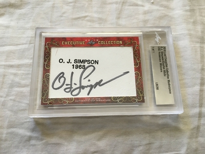 O.J. Simpson and Charles White 2018 Leaf Masterpiece Cut Signature certified autograph card 1/1 JSA
