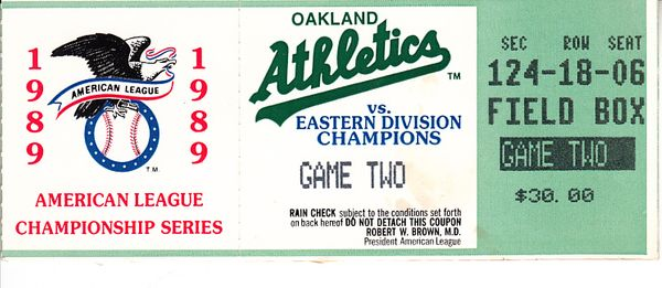 Oakland A's 1989 American League Championship Series Game 2 ticket stub