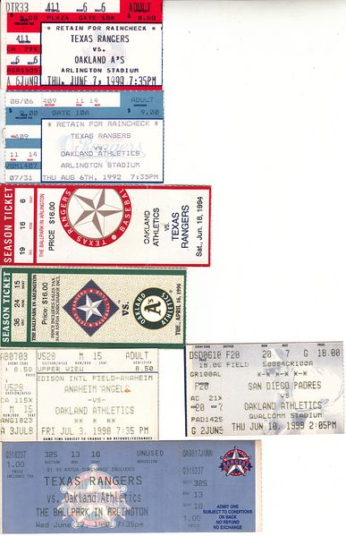 Oakland Athletics lot of 7 vintage 1990s road game tickets