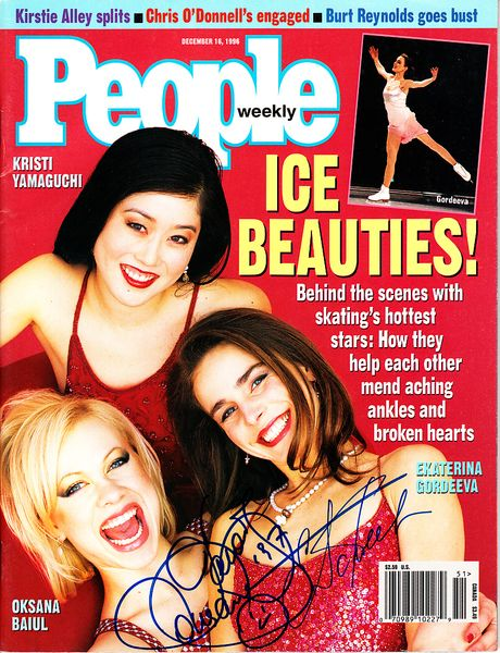 Oksana Baiul and Ekaterina Gordeeva autographed Ice Skating 1996 People magazine