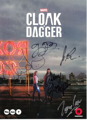 Olivia Holt and Aubrey Joseph autographed Cloak & Dagger 2018 Wondercon 8x11 promotional photo