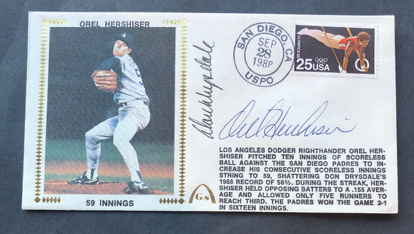 Orel Hershiser and Don Drysdale autographed Los Angeles Dodgers 59 Scoreless Innings record Gateway cachet envelope (JSA)