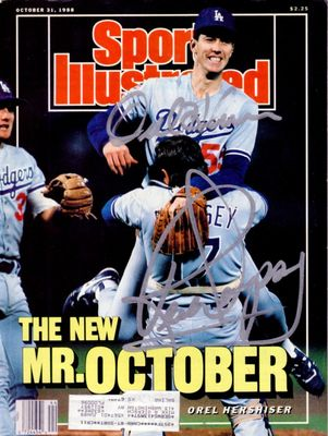 Orel Hershiser and Rick Dempsey autographed Los Angeles Dodgers 1988 World Series Sports Illustrated