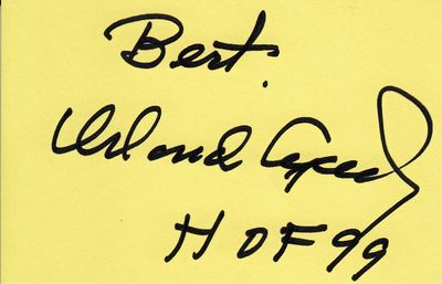 Orlando Cepeda autographed index card inscribed Best HOF 99