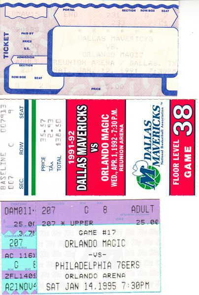 Orlando Magic lot of 3 vintage 1990s ticket stubs (Shaquille O'Neal)