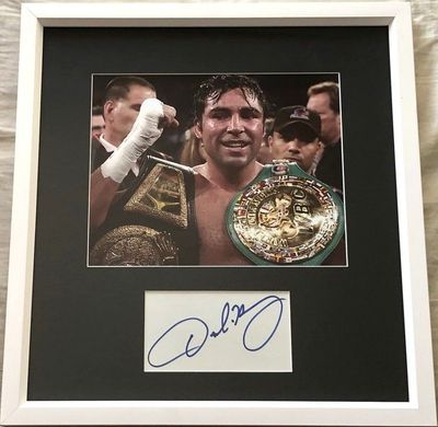 Oscar De La Hoya autograph matted and framed with 8x10 boxing photo