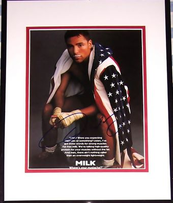 Oscar De La Hoya autographed American Flag 8x10 MILK photo matted and framed