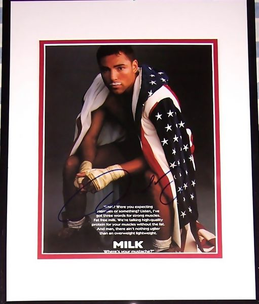 Oscar De La Hoya autographed MILK American Flag magazine ad photo matted and framed