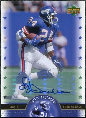 Ottis (O.J.) Anderson certified autograph New York Giants 2005 Upper Deck Legends card