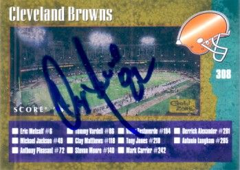 Ozzie Newsome autographed Cleveland Browns 1994 Score Gold checklist card