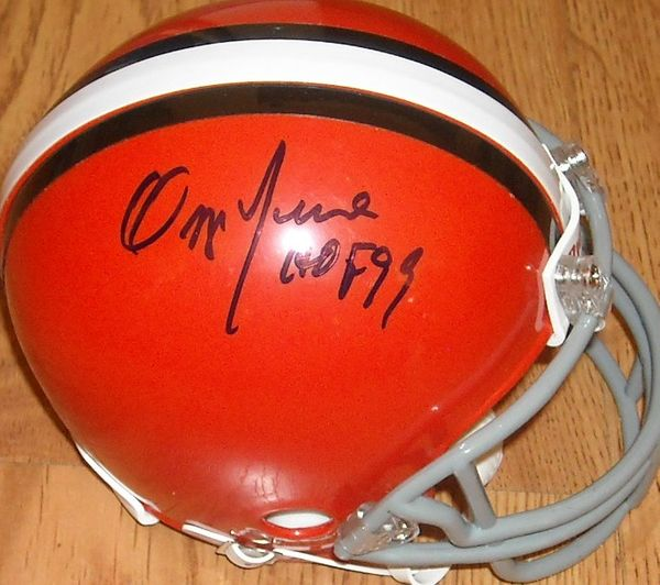 Ozzie Newsome and Brian Sipe autographed Cleveland Browns mini helmet