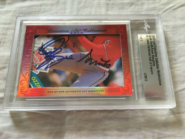 Ozzie Smith and Enos Slaughter 2017 Leaf Masterpiece Cut Signature certified autograph card 1/1 JSA