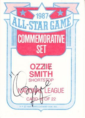 Ozzie Smith autographed 1988 Topps 1987 All-Star Game card