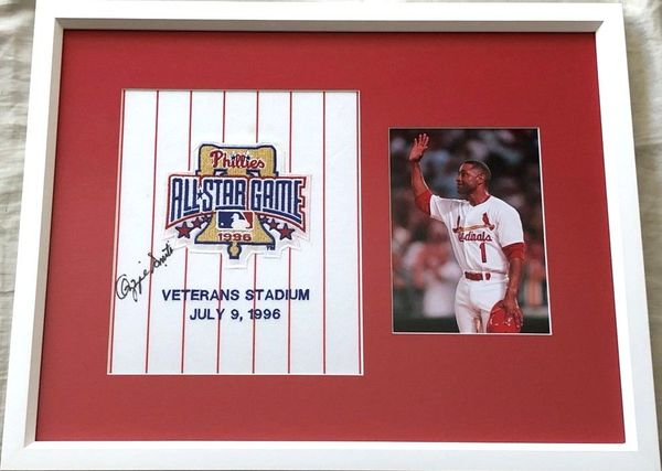 Ozzie Smith autographed 1996 All-Star Game jersey patch framed with final at-bat 5x7 photo