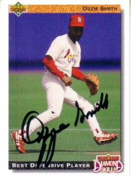 Ozzie Smith autographed St. Louis Cardinals 1992 Upper Deck card