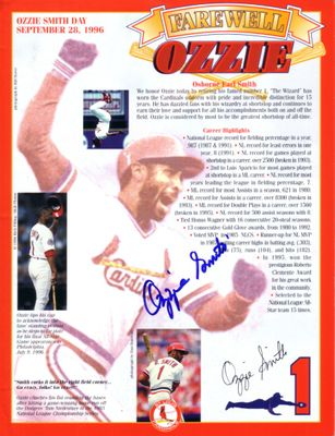 Ozzie Smith autographed St. Louis Cardinals 1996 Farewell Ozzie photo