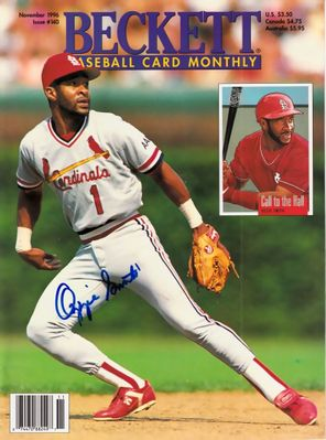 Ozzie Smith autographed St. Louis Cardinals 1996 Beckett Baseball cover