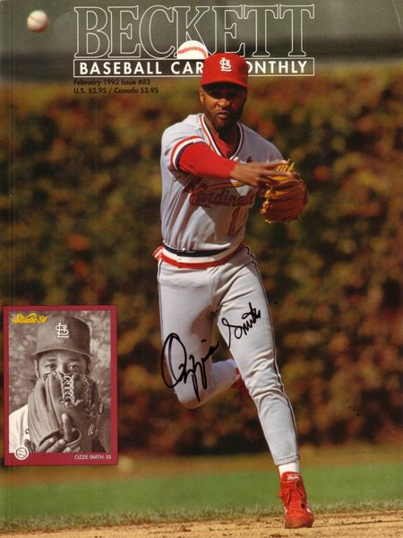Ozzie Smith autographed St. Louis Cardinals Beckett Baseball cover