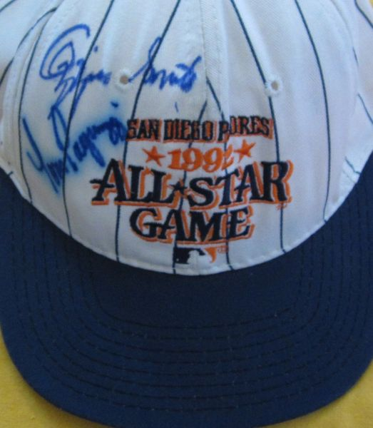 Ozzie Smith & Tom Pagnozzi autographed 1992 All-Star Game cap or hat