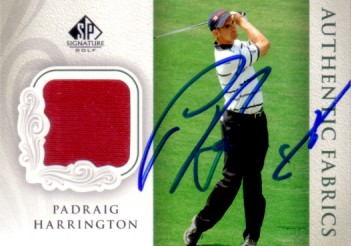 Padraig Harrington autographed 2004 SP Signature golf card with worn shirt swatch