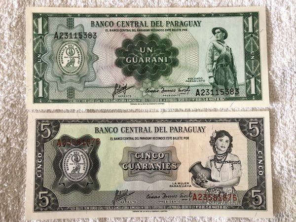 Paraguay lot of 2 banknotes (1952 1 guaranie and 1963 5 guaranies)