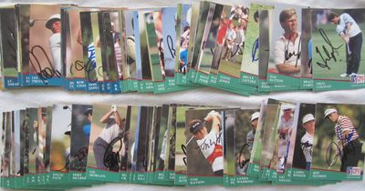 Partial set of 122 autographed 1991 Pro Set PGA Tour golf cards Fred Couples Gary Player Tom Watson