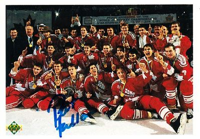 Pat Falloon autographed 1990 Canadian National Junior Team Champions 1990-91 Upper Deck card