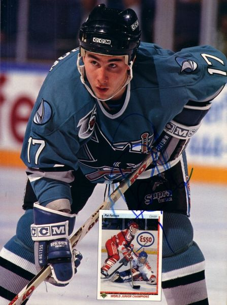 Pat Falloon autographed San Jose Sharks Beckett Hockey back cover photo