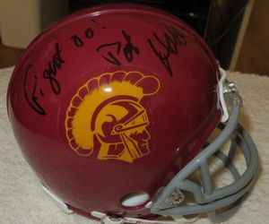Pat Haden autographed USC Trojans mini helmet inscribed Fight On!