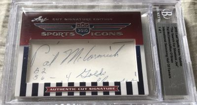 Pat McCormick and Ron O'Brien 2010 Leaf Sports Icons Cut Signature certified autograph card 1/1